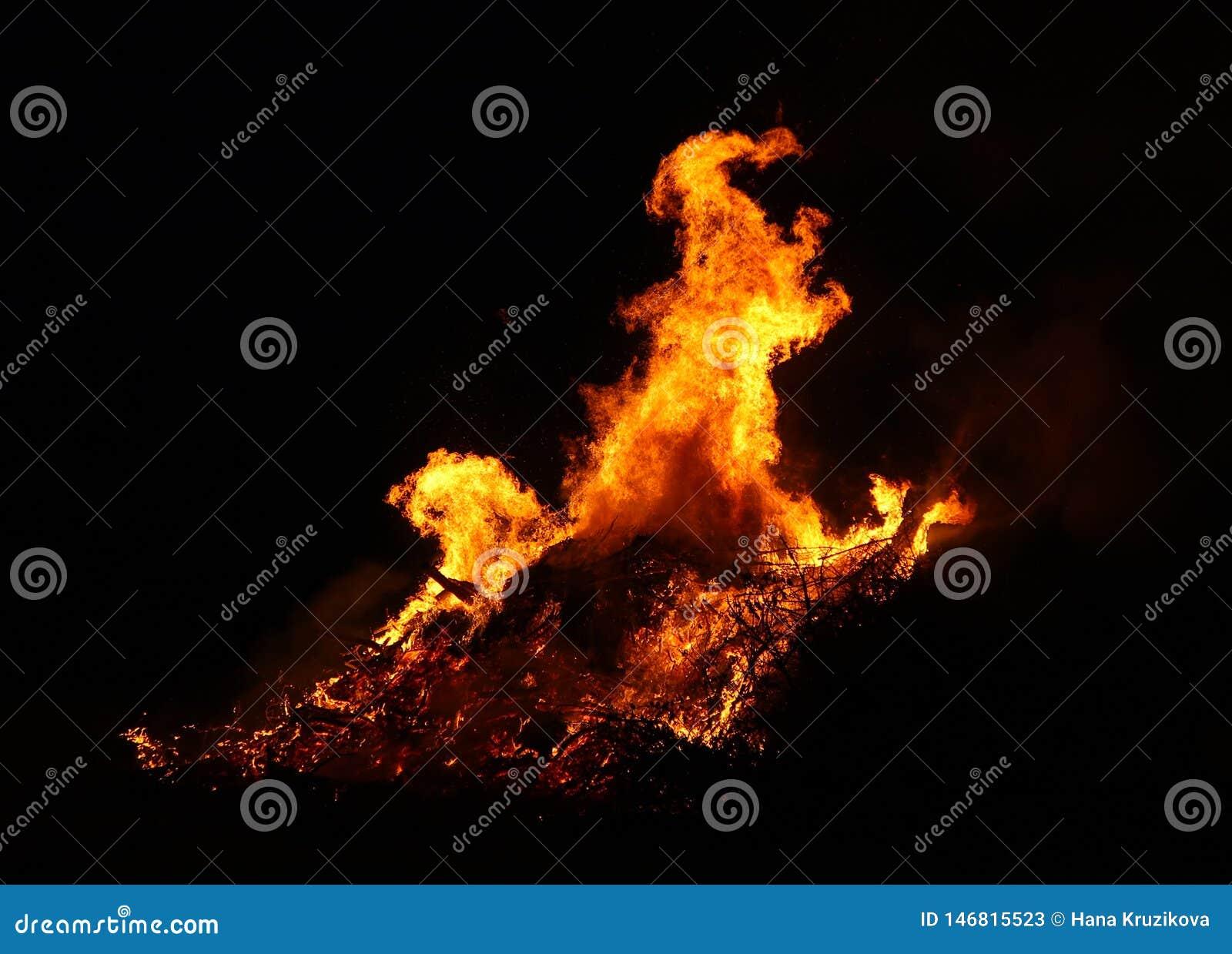 La hoguera grande, quemando y brillando intensamente con las llamas suaves, chispea los agains que vuelan el cielo oscuro Silueta