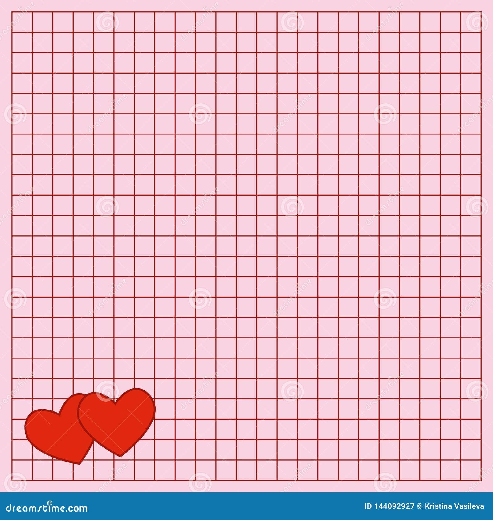 La hoja cuadrada del libro de la escritura con corazones