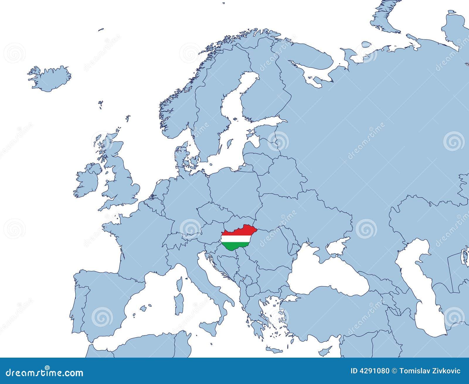 La Hongrie Sur La Carte De L'Europe Illustration de Vecteur