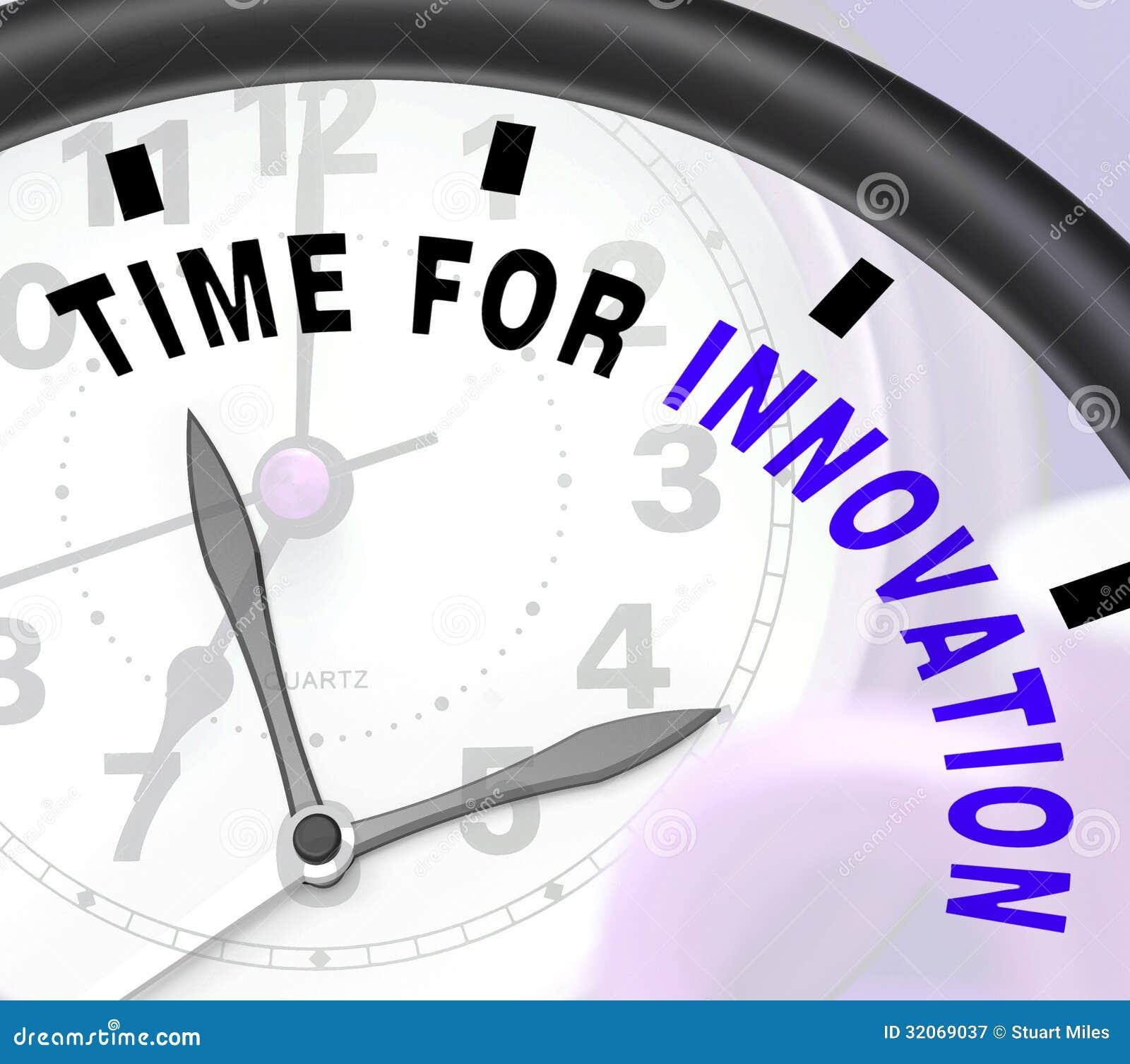 La hora para la innovación muestra el desarrollo y la ingeniosidad creativos