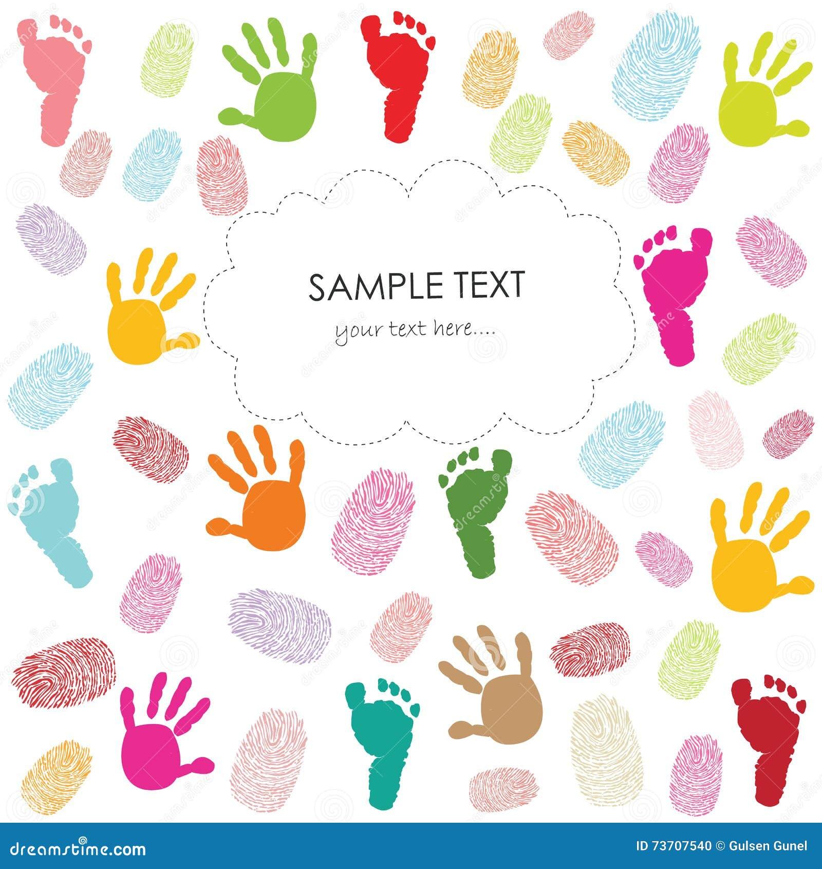 La huella del bebé, las impresiones de la mano y la tarjeta de felicitación de los niños de las huellas dactilares vector el ejem
