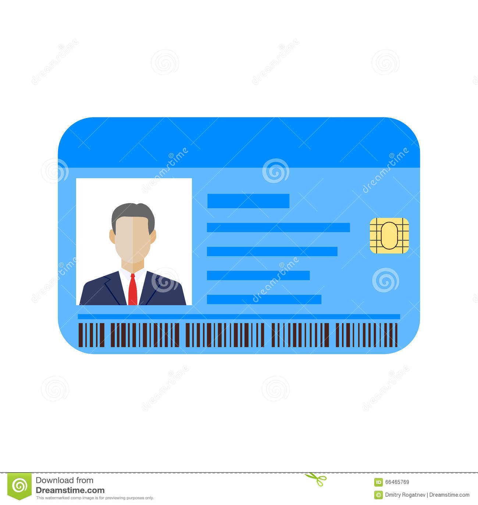 La Identificación Carda La Plantilla Con El Hombre Ilustración del ...