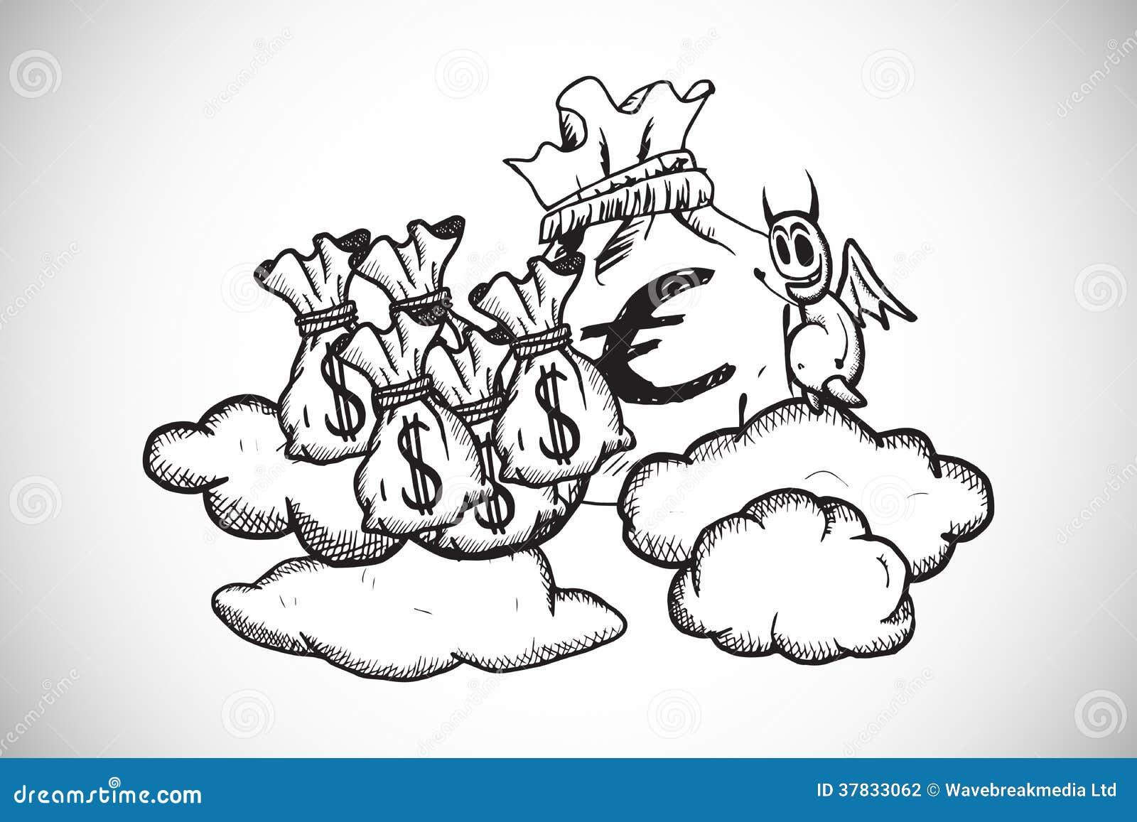 La imagen compuesta del diablo con los bolsos del dinero garabatea