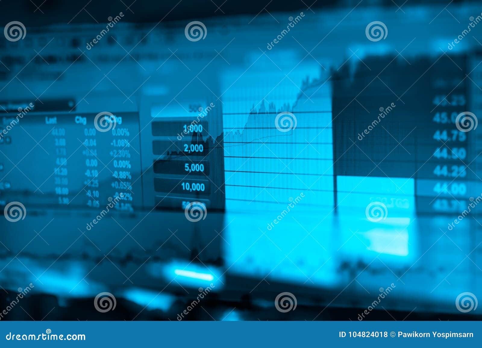La imagen del gráfico de negocio y del monitor del comercio de la inversión en el comercio del oro, mercado de acción, mercado a