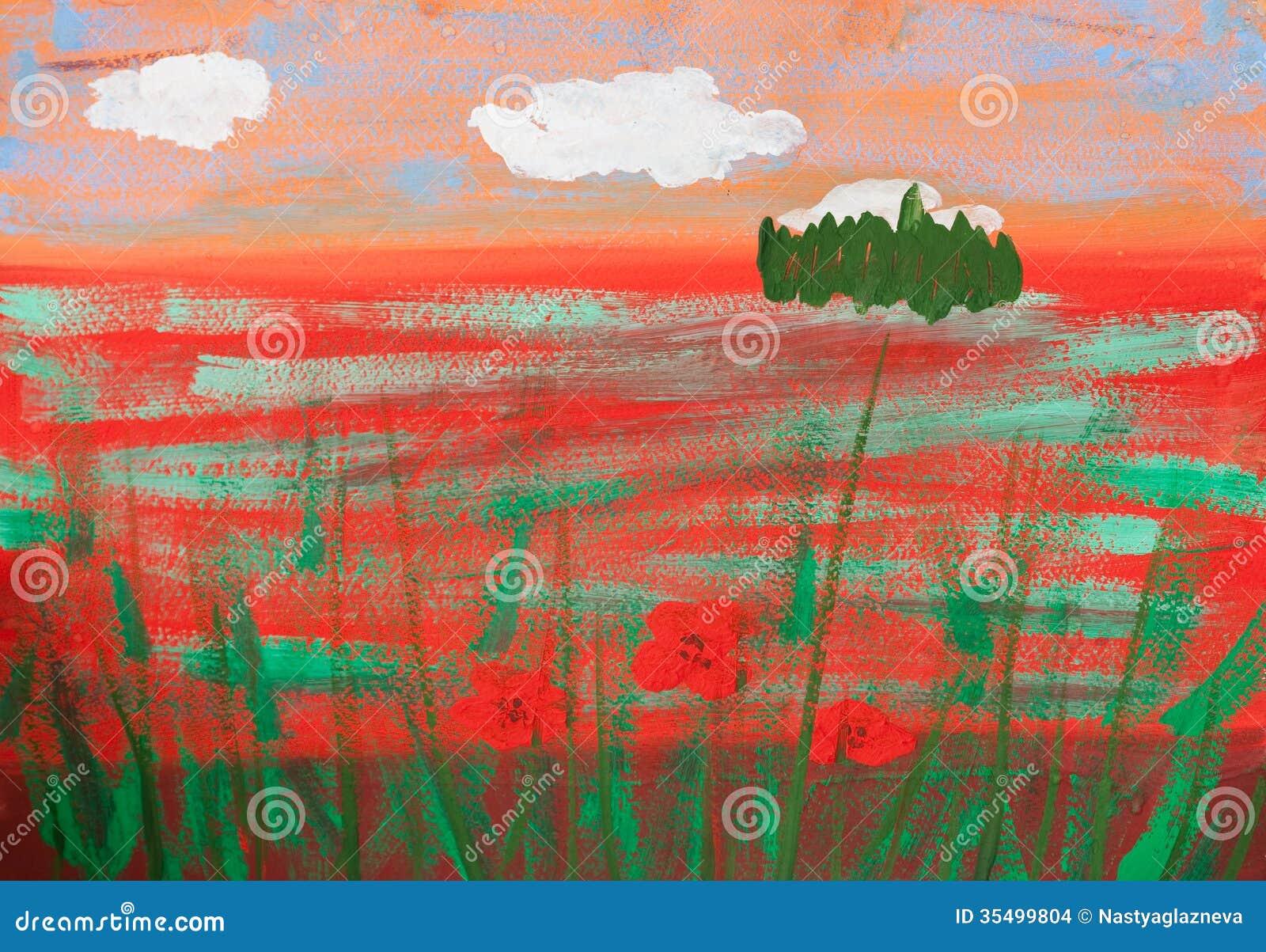 La imagen del niño del campo de la amapola del verano