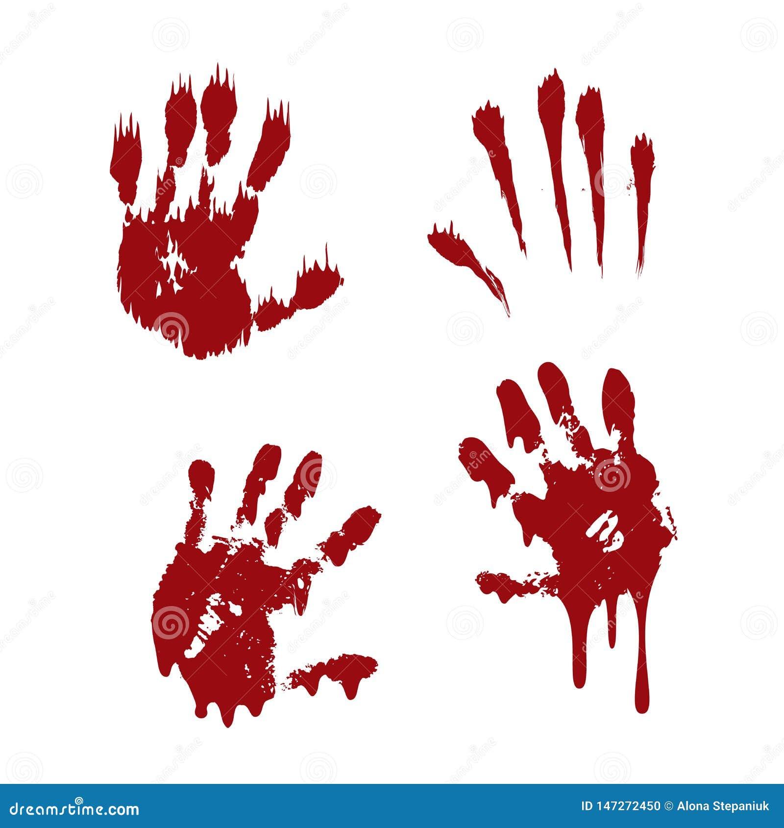 La impresi?n sangrienta de la mano fij? el fondo blanco aislado Handprint asustadizo de la sangre del horror, huella dactilar Pal