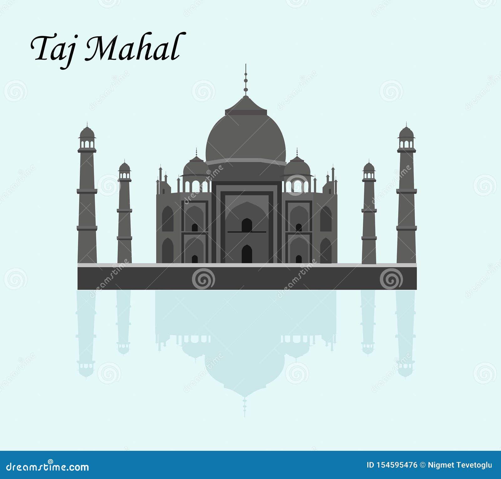 La India Agra Viaje Señal Arquitectura De La Cultura Del Taj Mahal Patrimonio Mundial De La Unesco Mausoleo Palacio De Marfil Ilustración Del Vector Ilustración De India Patrimonio 154595476