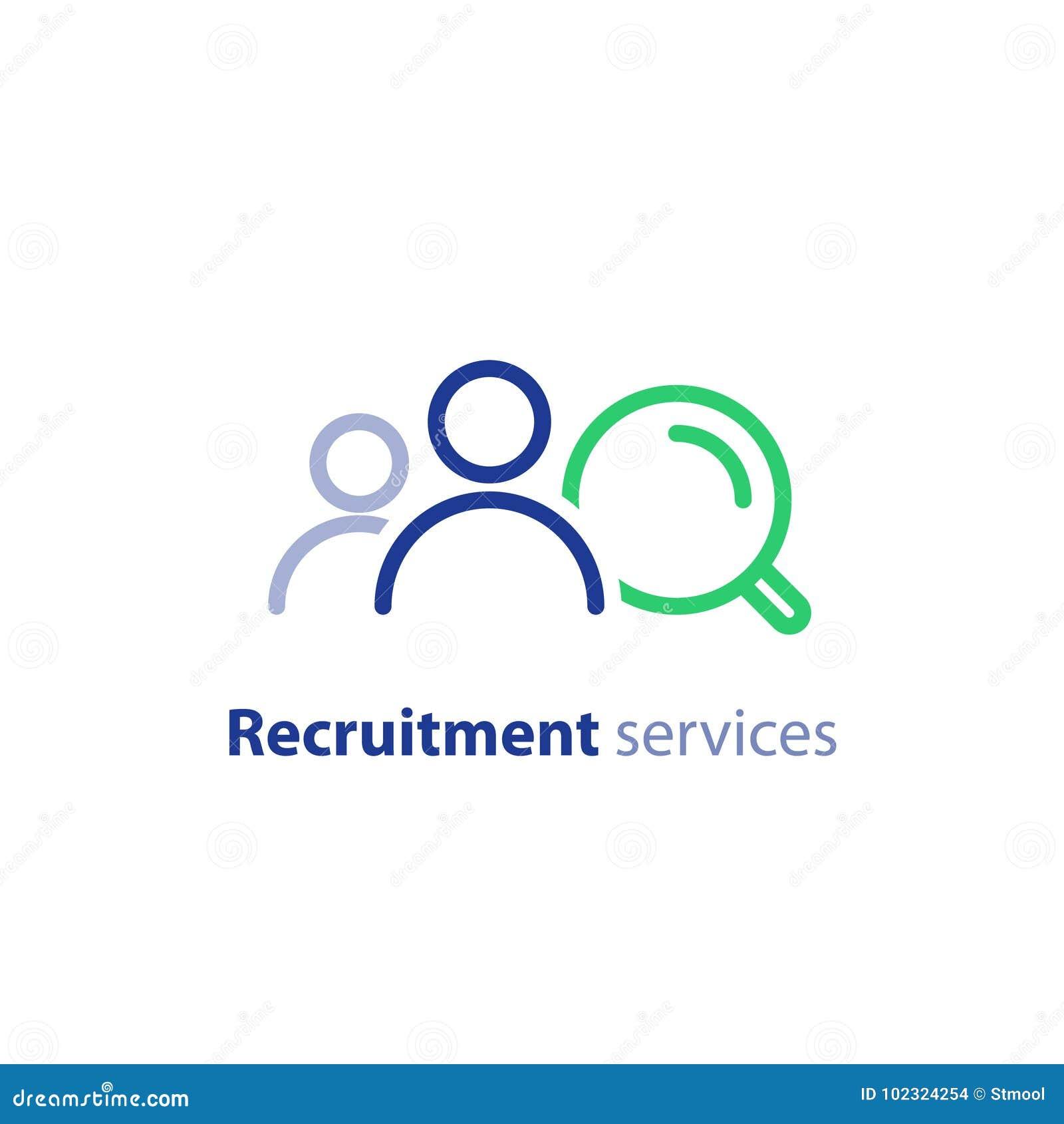 La investigación del reclutamiento, servicios de los recursos humanos, empleado de alquiler, encuentra el trabajo, concepto de la
