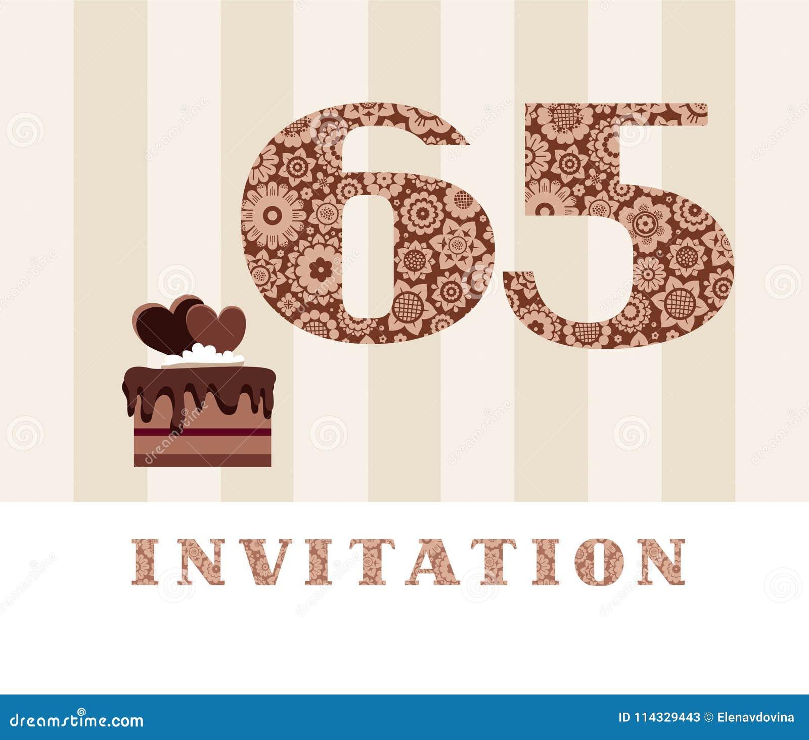 La Invitación 65 Años Torta De Chocolate En Forma De