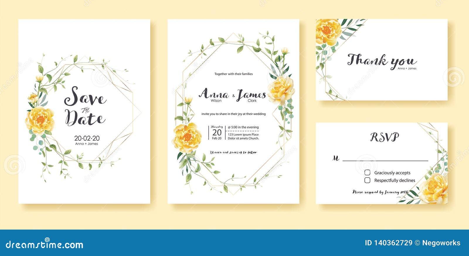 La invitación de la boda, ahorra la fecha, gracias, plantilla del diseño de tarjeta del rsvp Vector Flor amarilla, dólar de plata