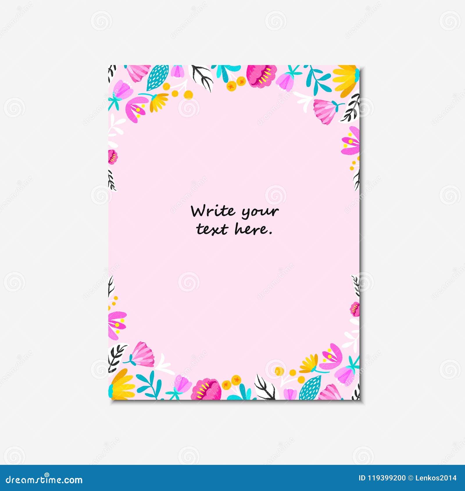 La Invitación De La Boda O La Tarjeta De Cumpleaños Floral