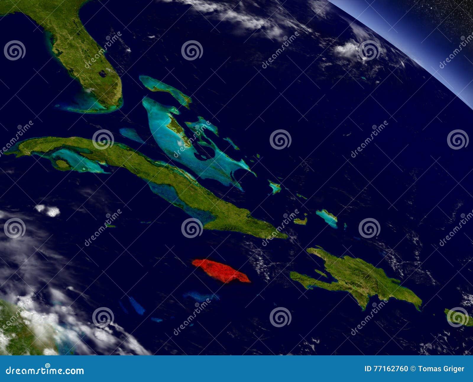 La Jamaïque de l espace accentué en rouge