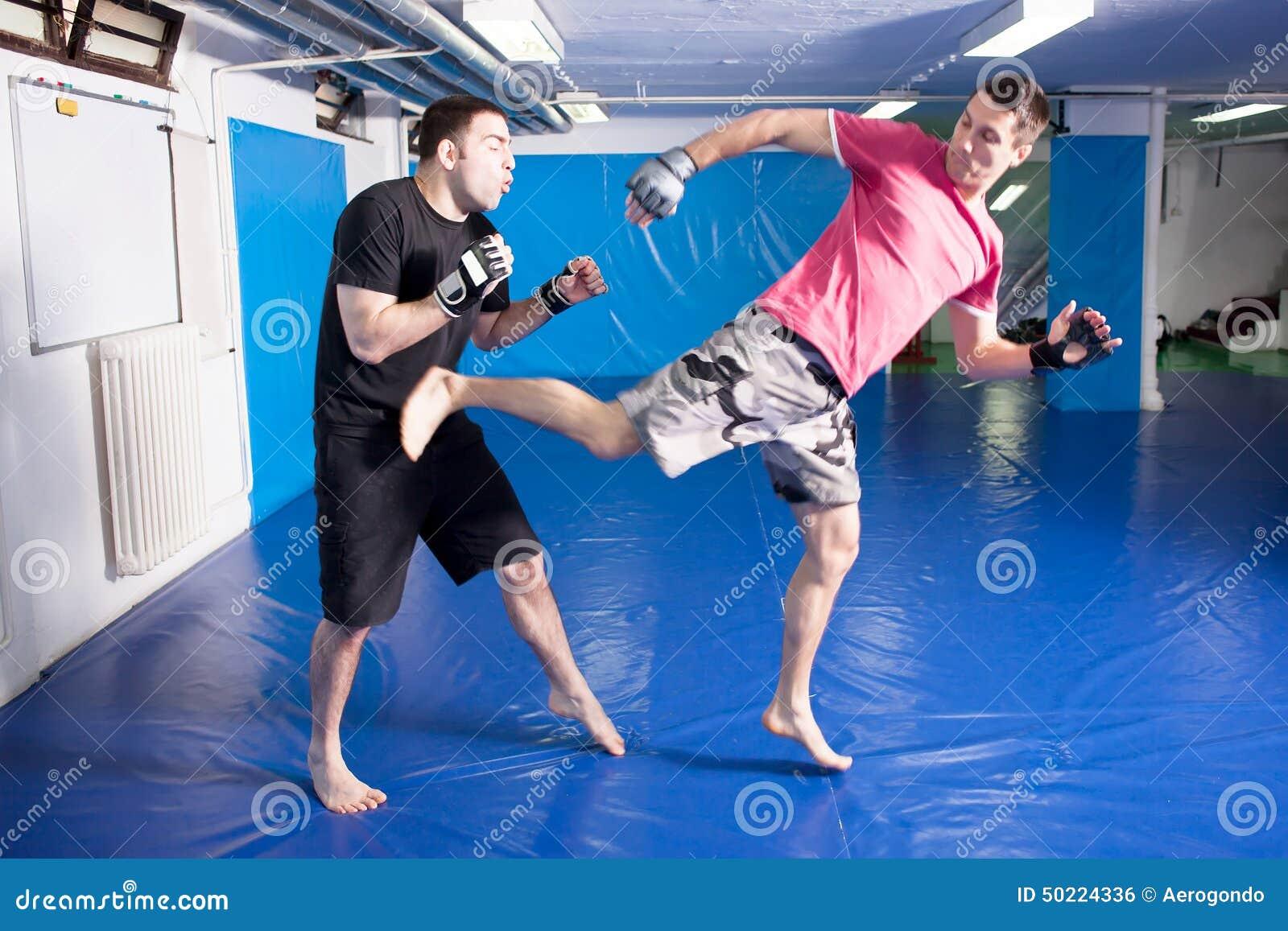 La jambe donnent un coup de pied dedans le ventre pendant la formation d 39 art martial photo stock - Hematome jambe suite coup ...