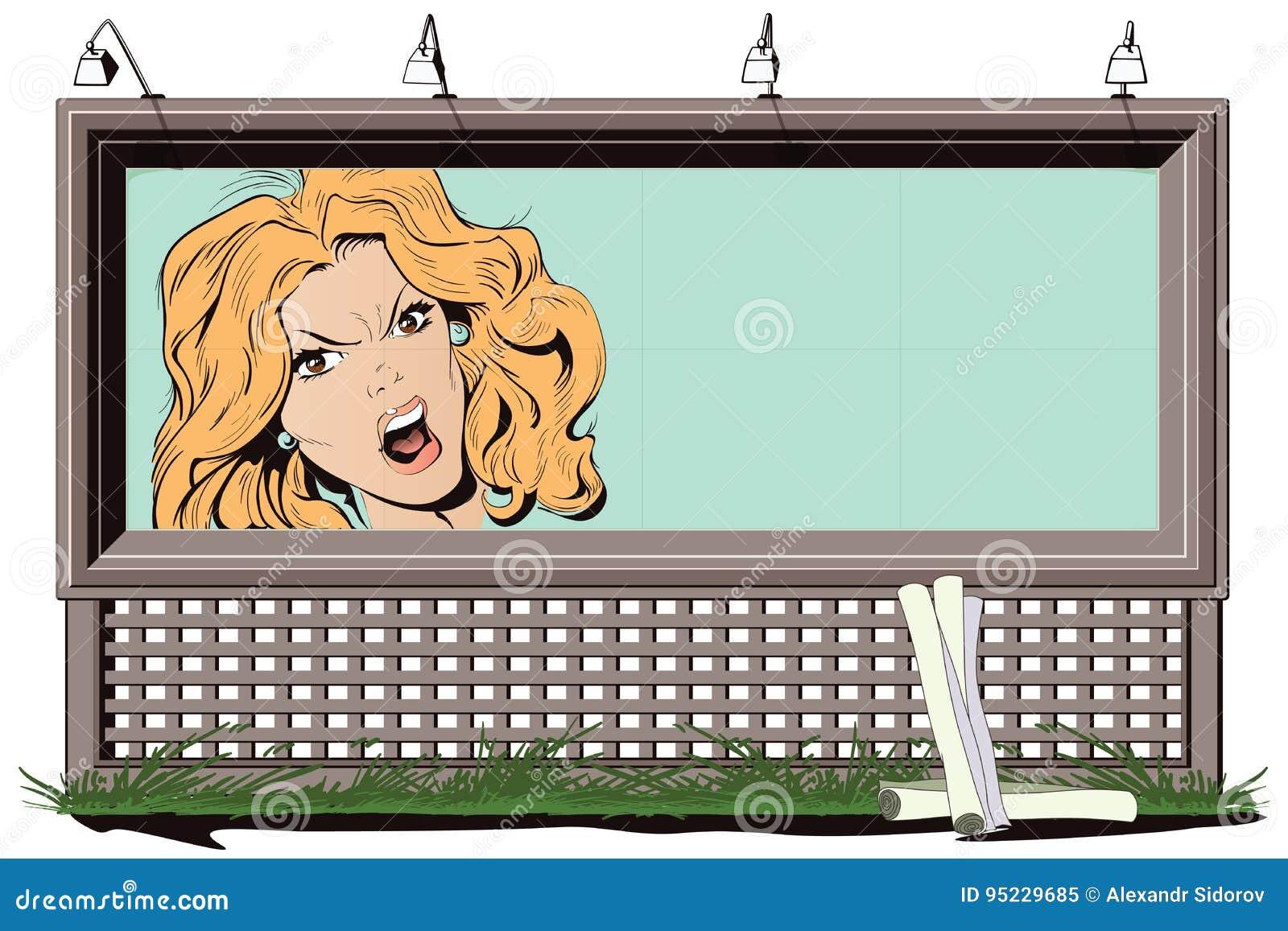 La jeune belle femme crie dans la fureur Illustration courante