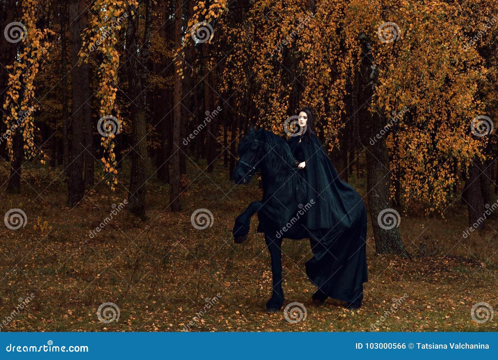 La jeune femme dans des vêtements gothiques est engagée dans le dressage dans l étalon frison