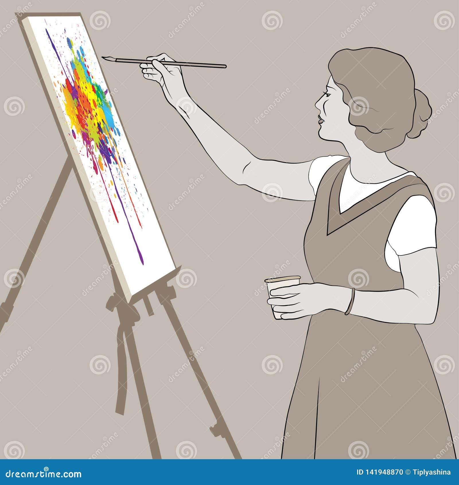 La jeune femme peint un tableau lumineux de couleur sur un chevalet