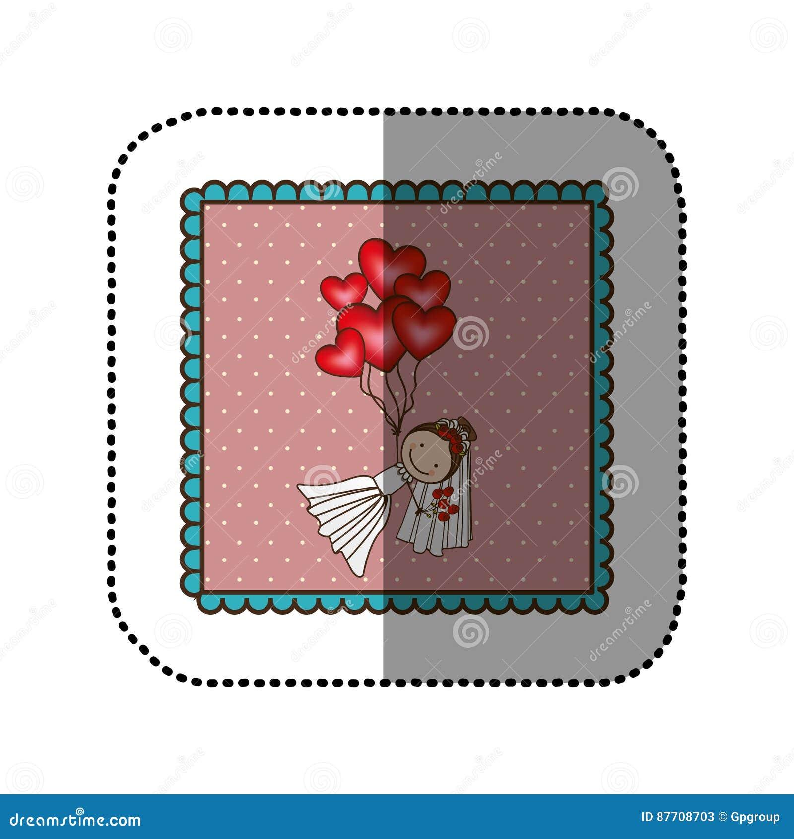 La jeune mariée de symbole avec le coeur rouge monte en ballon dans les mains