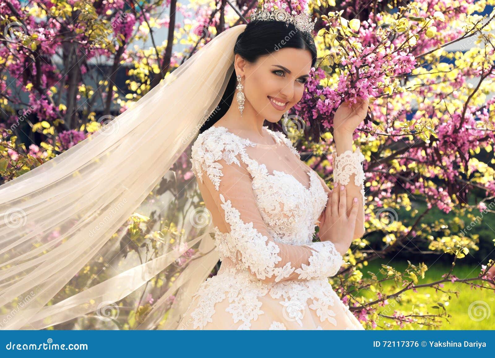 La Jeune Mariee Magnifique Dans La Robe De Mariage Et La Couronne