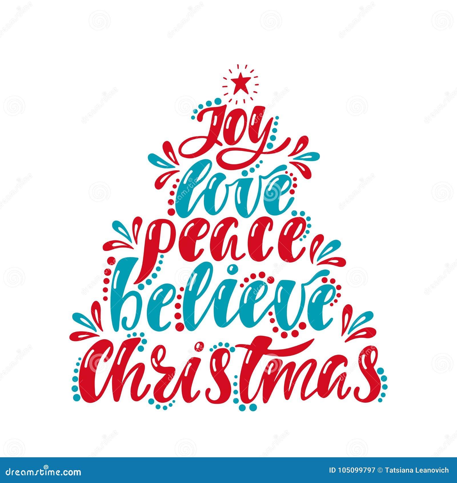 La Joie Amour Paix Croient Noël Inscription Décriture