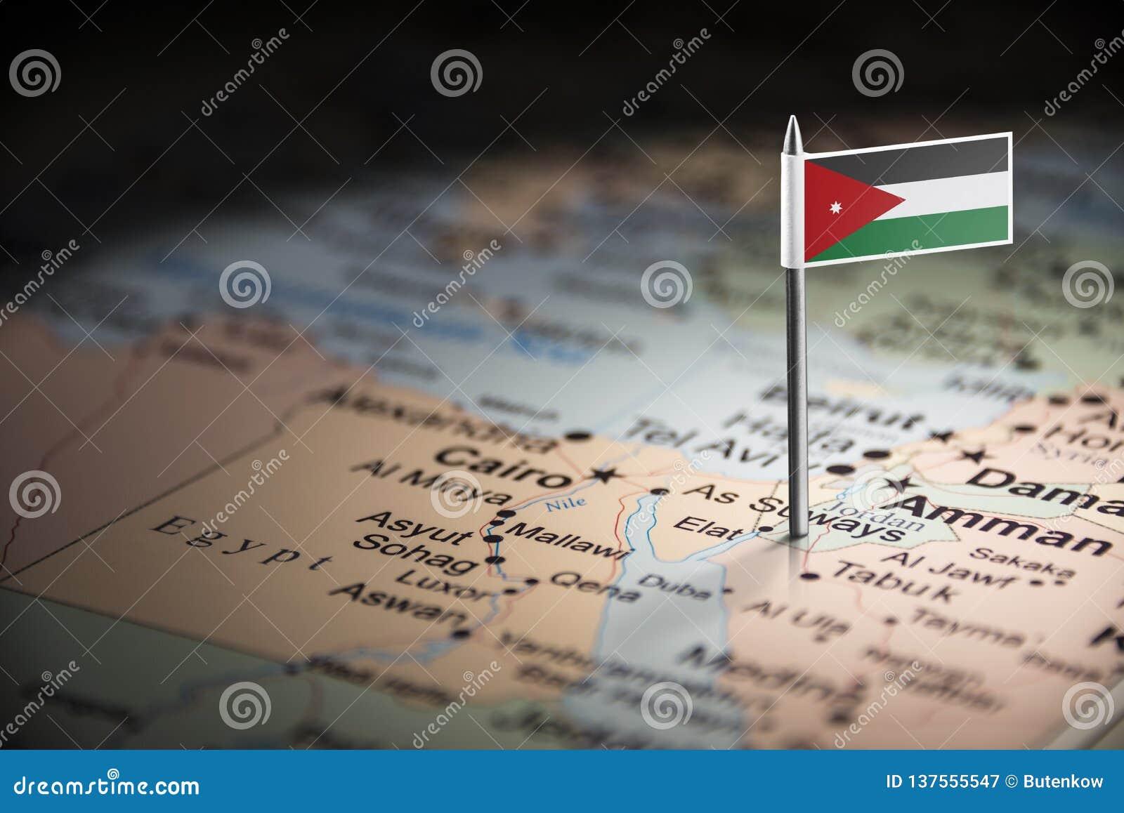 La Jordanie a identifié par un drapeau sur la carte