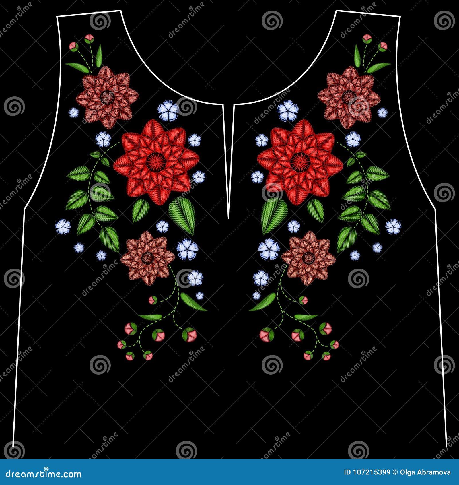 La línea étnica gráficos del cuello de las flores del bordado del diseño floral forma llevar