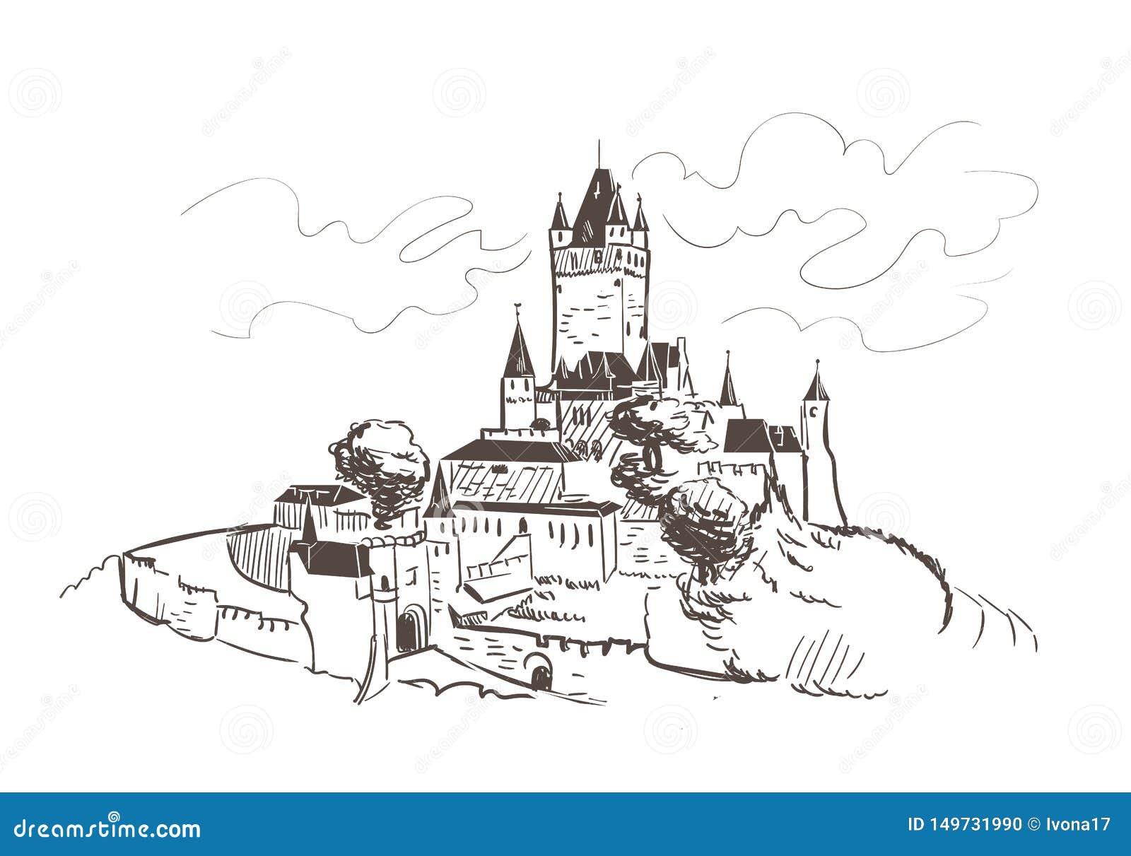 La línea arte aisló bosquejo del vector del castillo de Reichsburg