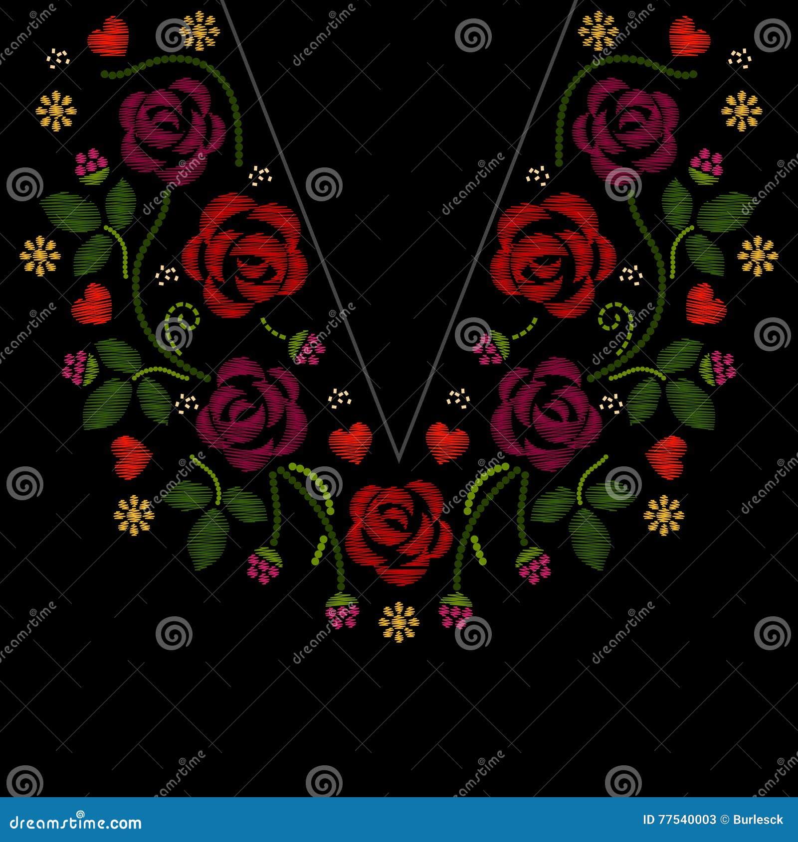 La línea bordado del cuello con las rosas florece el ejemplo del vector