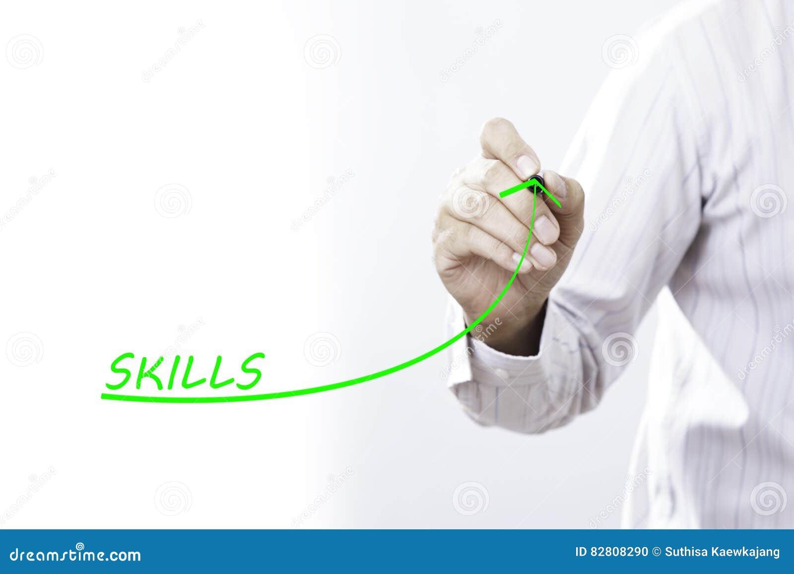 La línea cada vez mayor del drenaje del hombre de negocios simboliza habilidades cada vez mayor