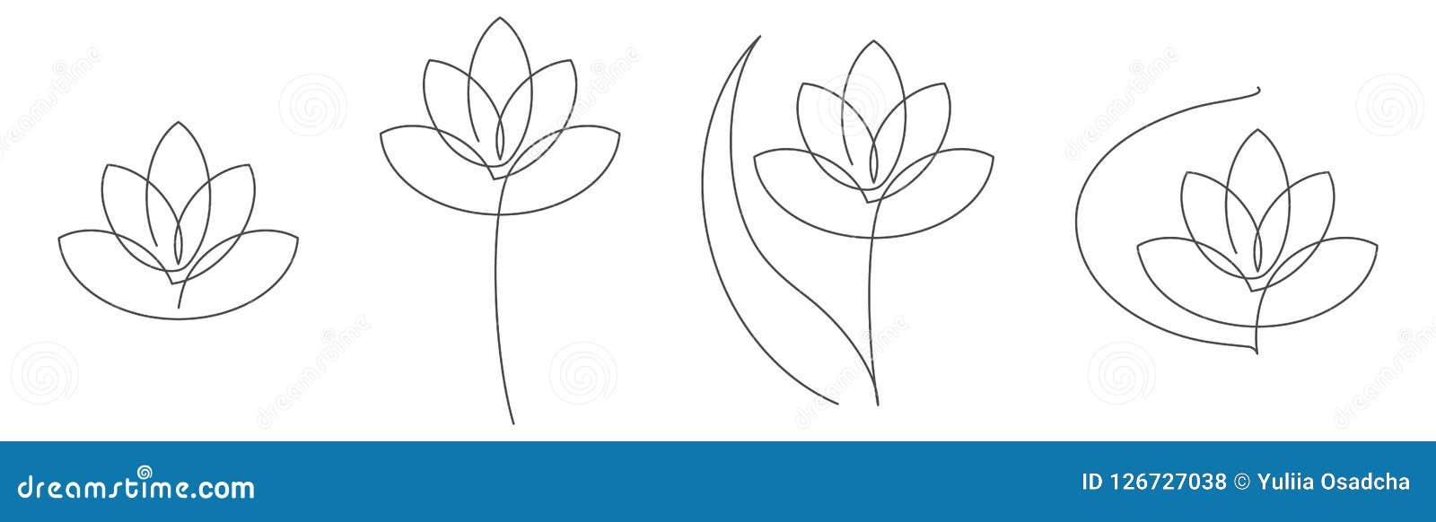 La línea continua ejemplo del loto de la flor del vector fijó con el movimiento editable para el diseño floral o el logotipo