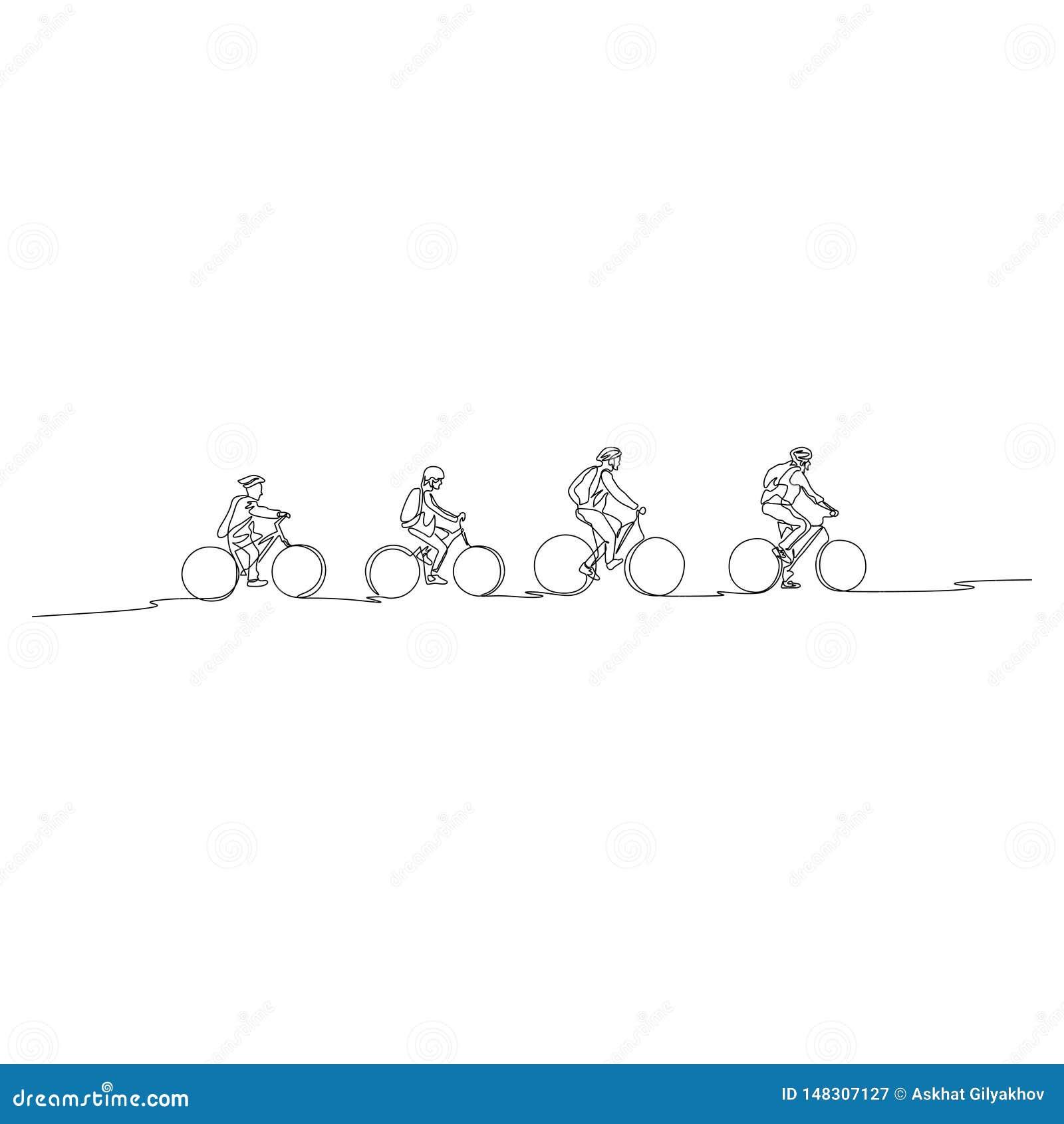 La línea continua familia en las bicicletas va a caminar Concepto de familia