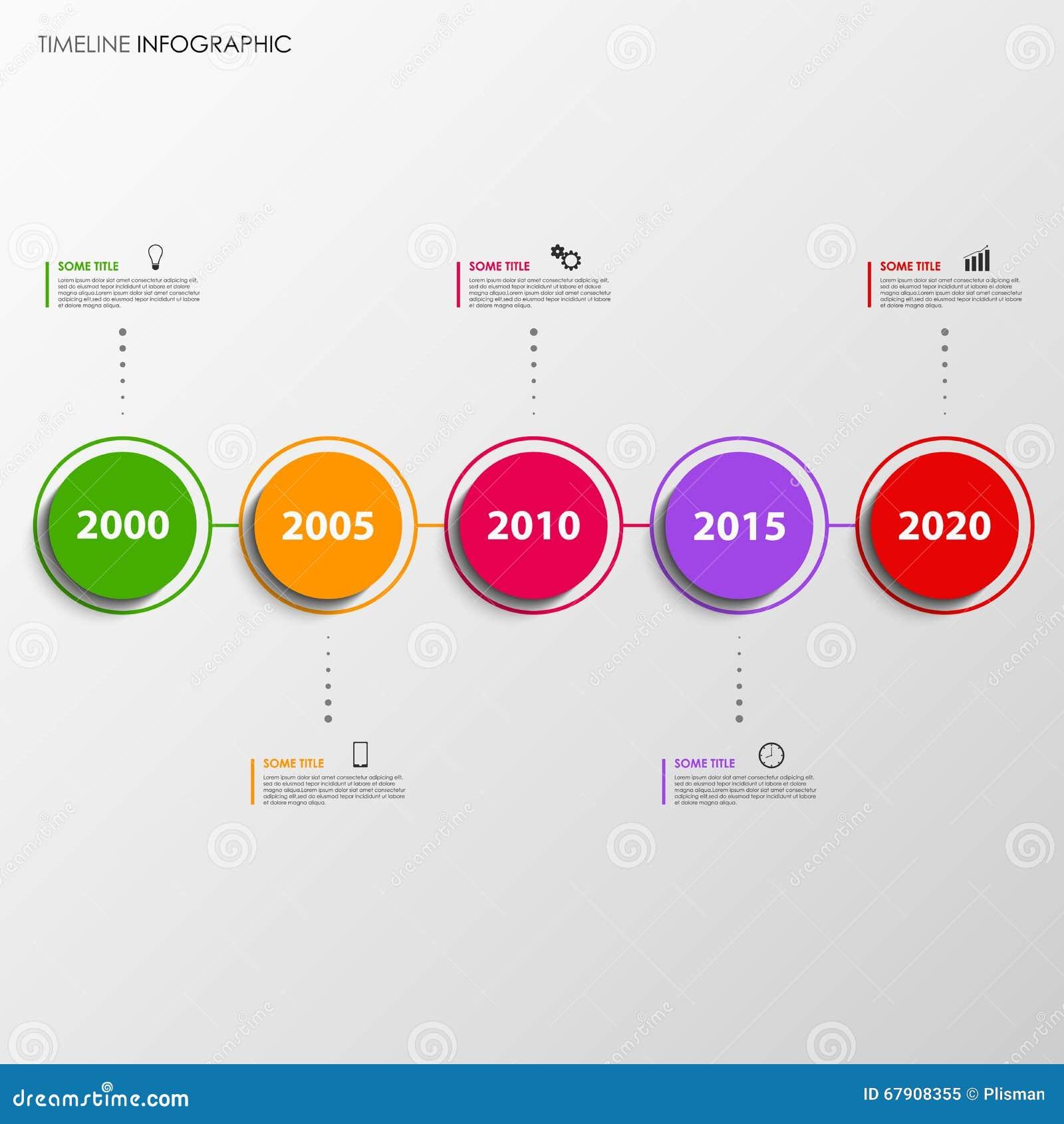 La Línea De Tiempo Gráfico De La Información Con Diseño Colorido ...