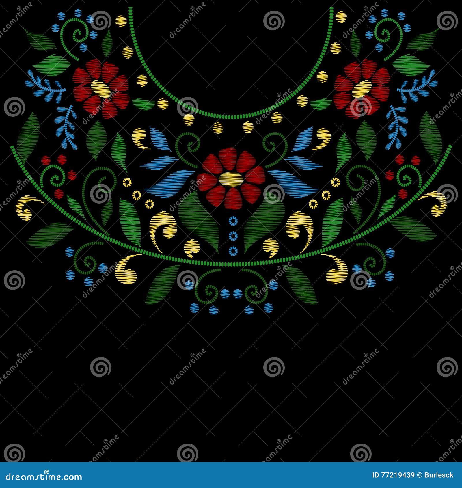 La línea del bordado del cuello de la flor diseña vector