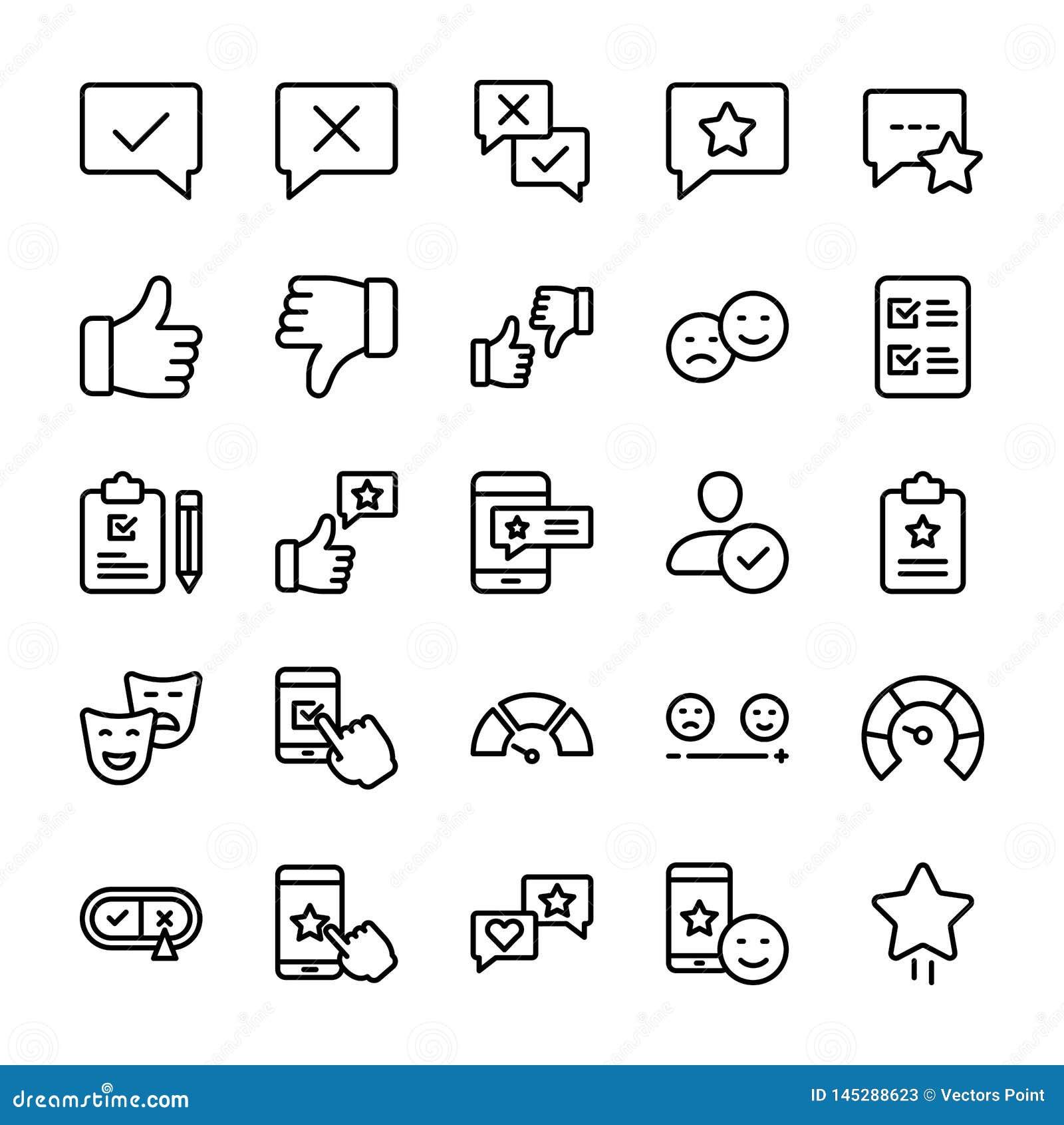 La línea emocional iconos de la opinión y de la lista de control embala