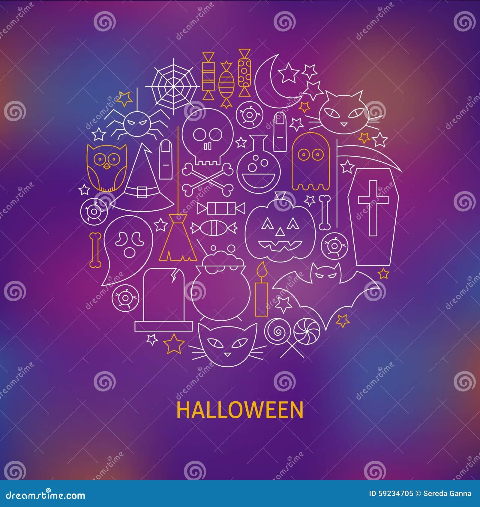 La línea fina iconos del día de fiesta de Halloween fijó concepto formado círculo