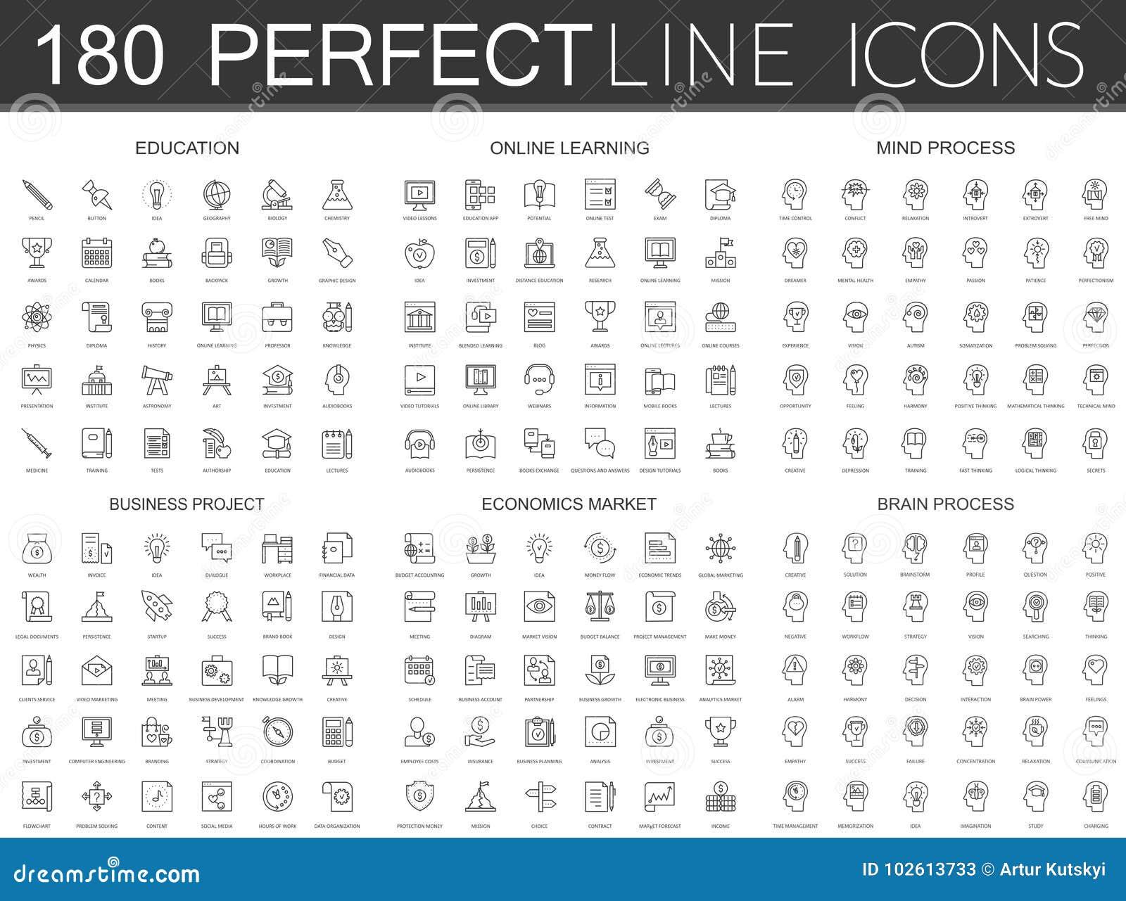 180 la línea fina moderna iconos fijó de la educación, en línea aprendiendo, proceso de la mente, proyecto del negocio, mercado d