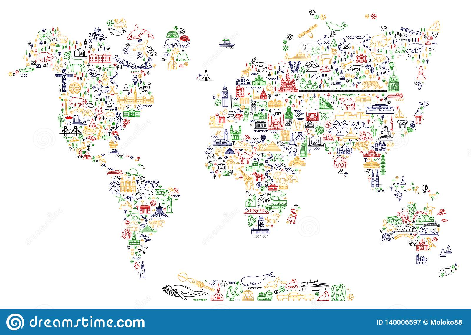 La línea iconos del World Travel traza Cartel del viaje con los animales y las atracciones de visita turístico de excursión Ejemp