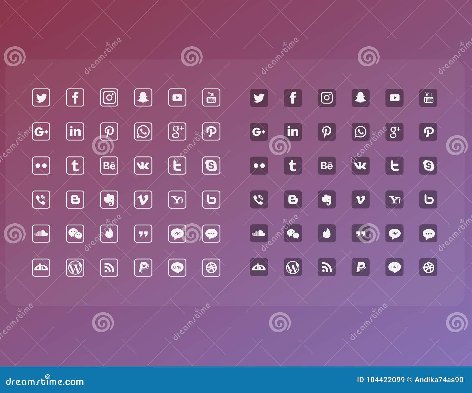 La línea plana medio social popular del icono fijó el paquete completo