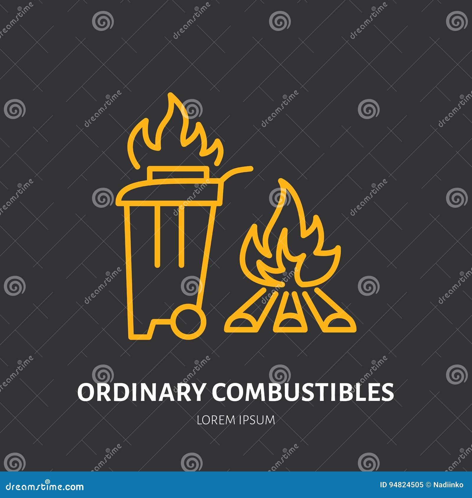 La línea plana muestra del extintor de combustibles ordinarios enciende el tipo Icono linear fino de la protección de la llama, p