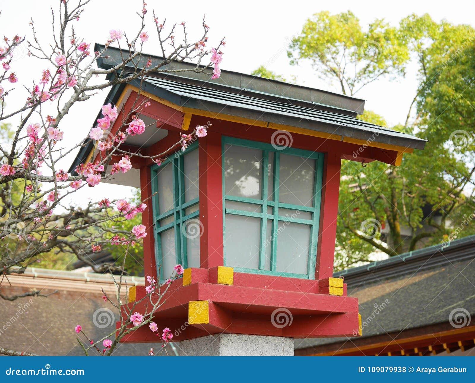 La Lanterne Japonaise En Bois Coloree De Tombeau Avec La Prune Assez