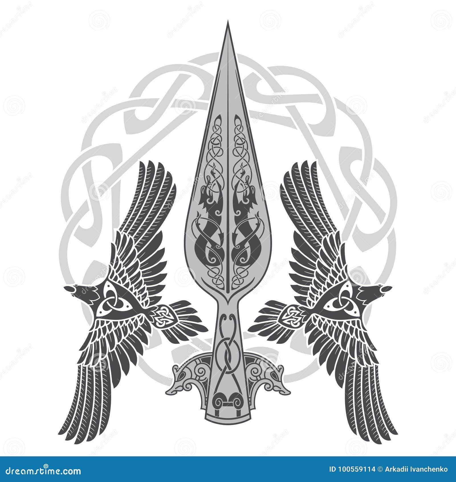 La lanza de dios Odin - Gungnir Dos cuervos y modelo escandinavo