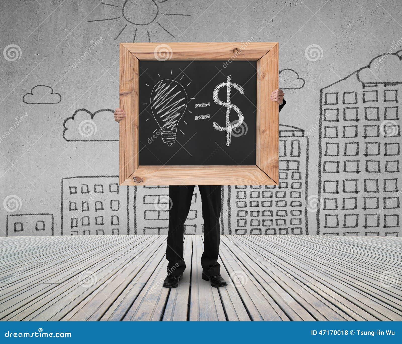 La lavagna della tenuta dell uomo d affari con le idee disegnate a mano uguaglia i soldi co
