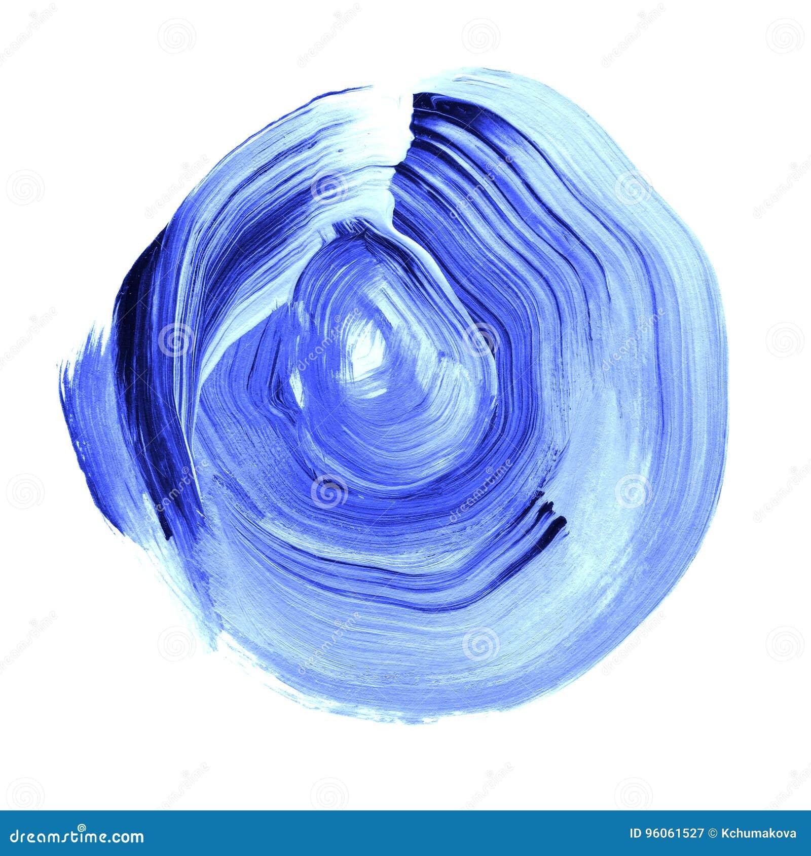 La lazulite bleue a donné au cercle une consistance rugueuse acrylique Tache pour aquarelle sur le fond blanc