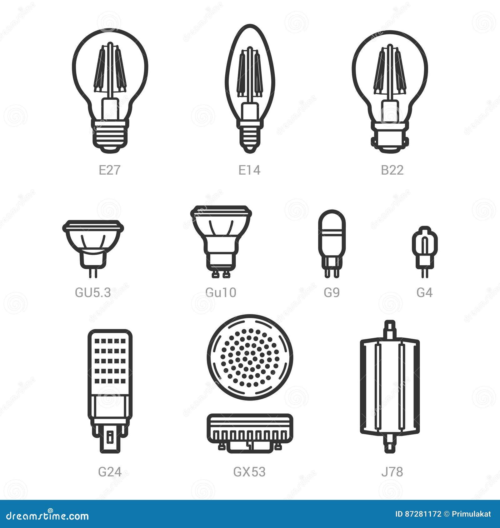 Vecteur Led D'ampoules D'icône De La D'ensemble Allument L'ensemble uJ5lcT1FK3