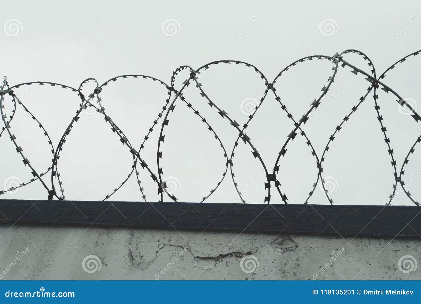 La lengüeta del enredo con el cielo gris la cerca en la prisión holocaust