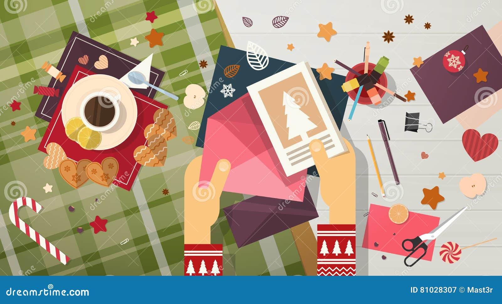 La letra del list d envie de la Feliz Navidad a la tarjeta de felicitación de Santa Clause Happy New Year envía
