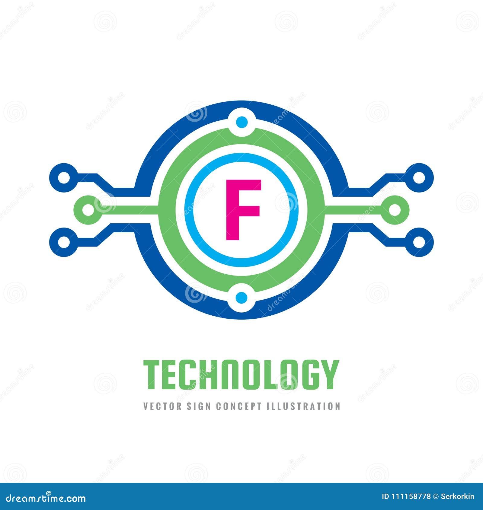 2f8b86c844e8d La letra F de la tecnología - vector el ejemplo del concepto de la plantilla  del