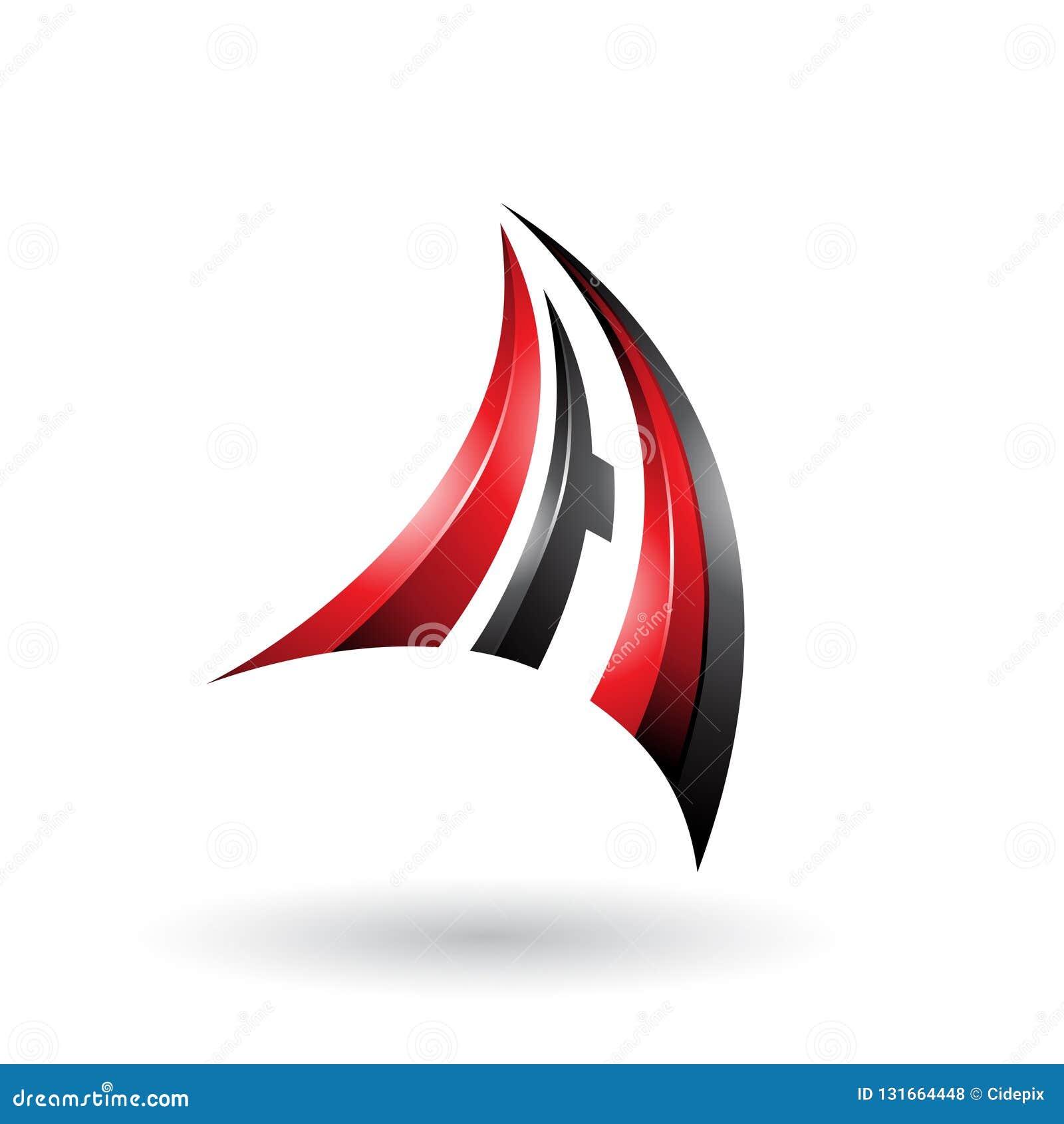 La lettera dinamica rossa e nera A di volo 3d ha isolato su un fondo bianco