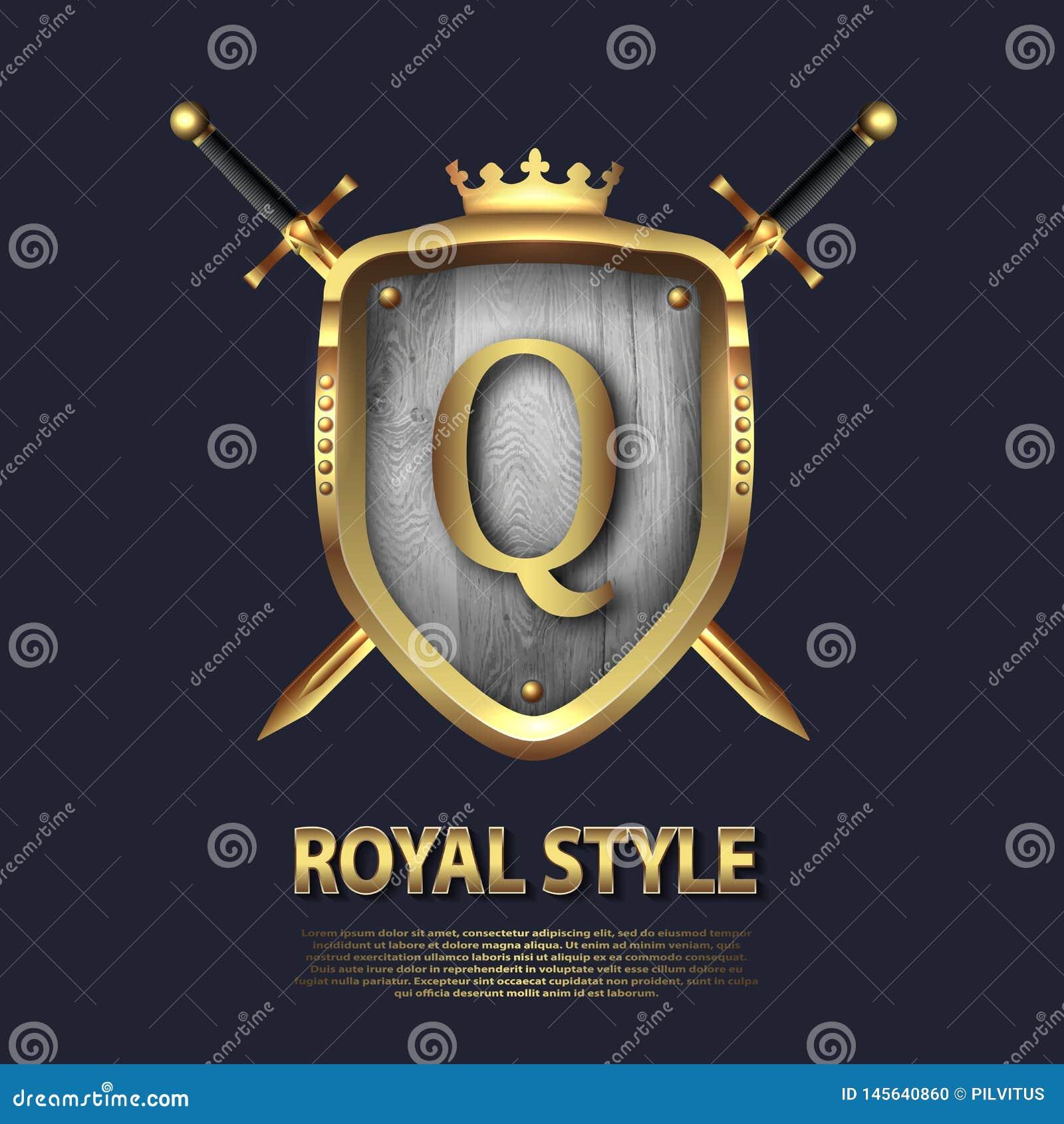 La lettera Q e due ha attraversato le spade e lo schermo con la corona Progettazione di lettera nel colore dell oro per gli usi c