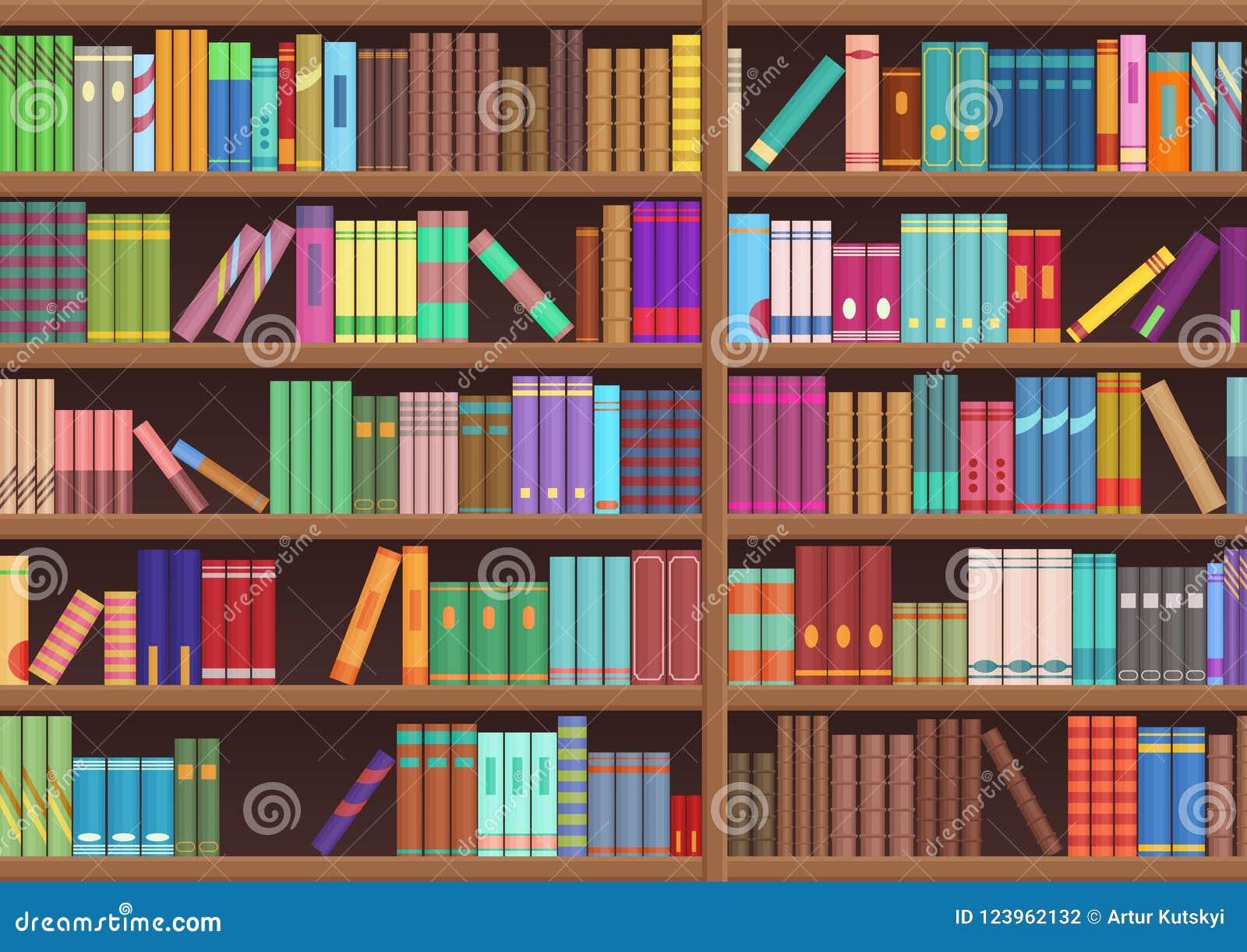 La letteratura dello scaffale di libro delle biblioteche prenota il fondo di vettore del fumetto