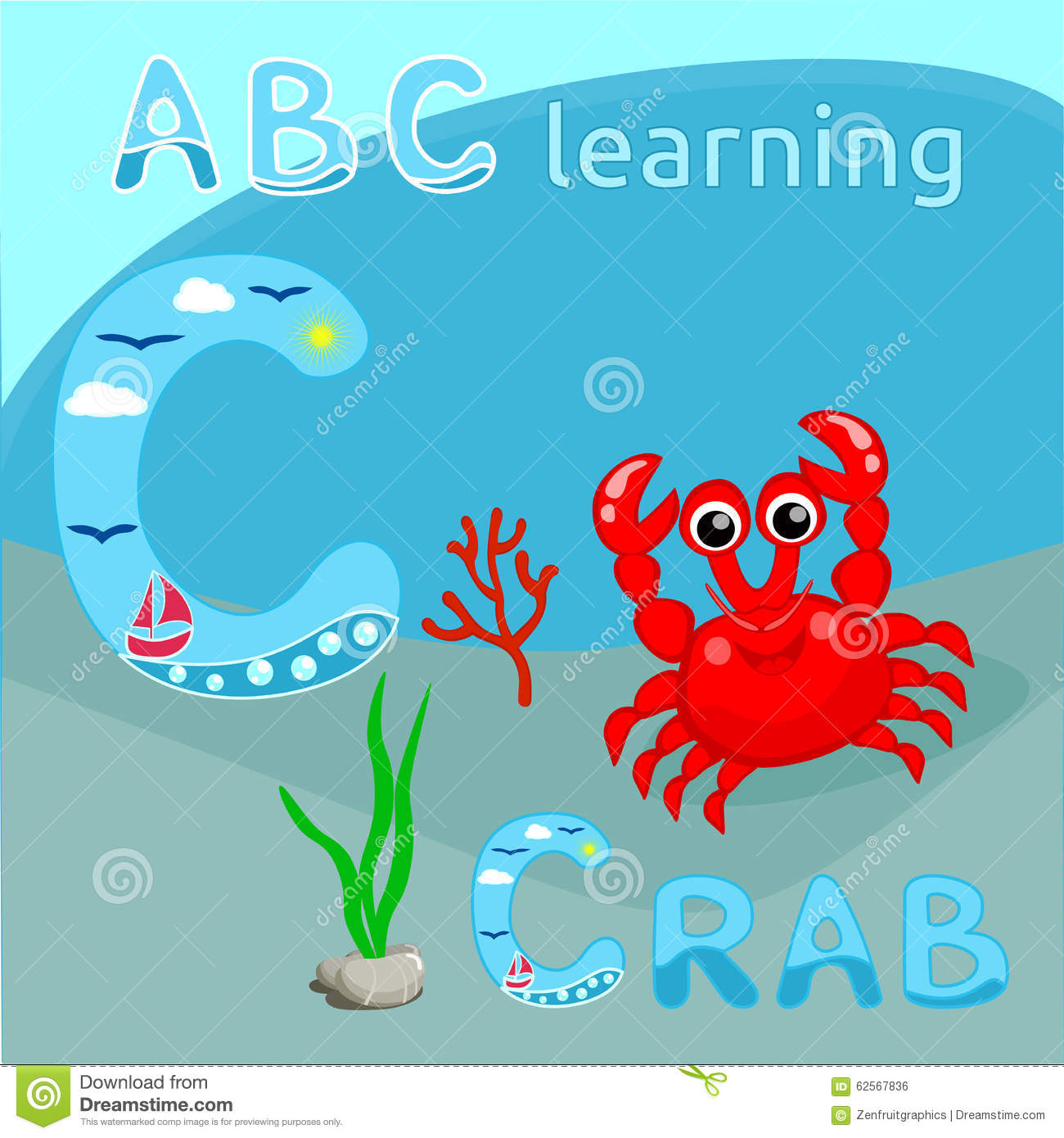la lettre abc de l 39 alphabet c d 39 animal de mer de fond d 39 abc badine le crabe rouge mignon avec la. Black Bedroom Furniture Sets. Home Design Ideas